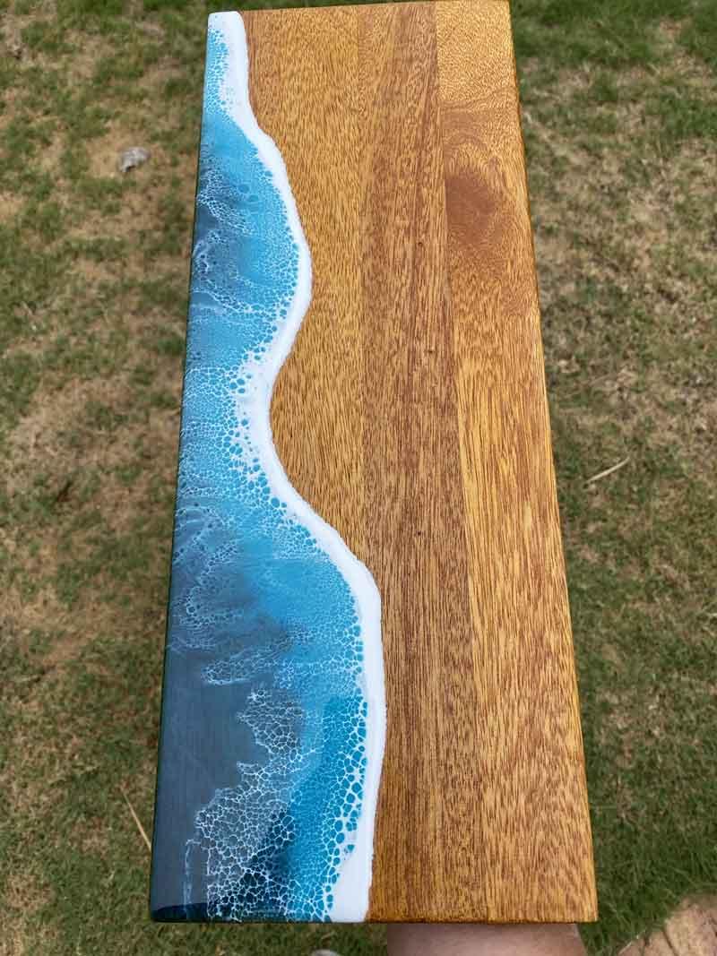 resin on wood serving board
