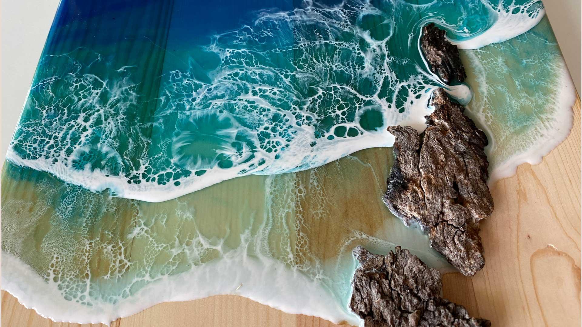 resin ocean waves on wood
