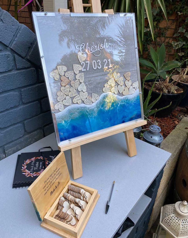 resin art wedding guest book alternative