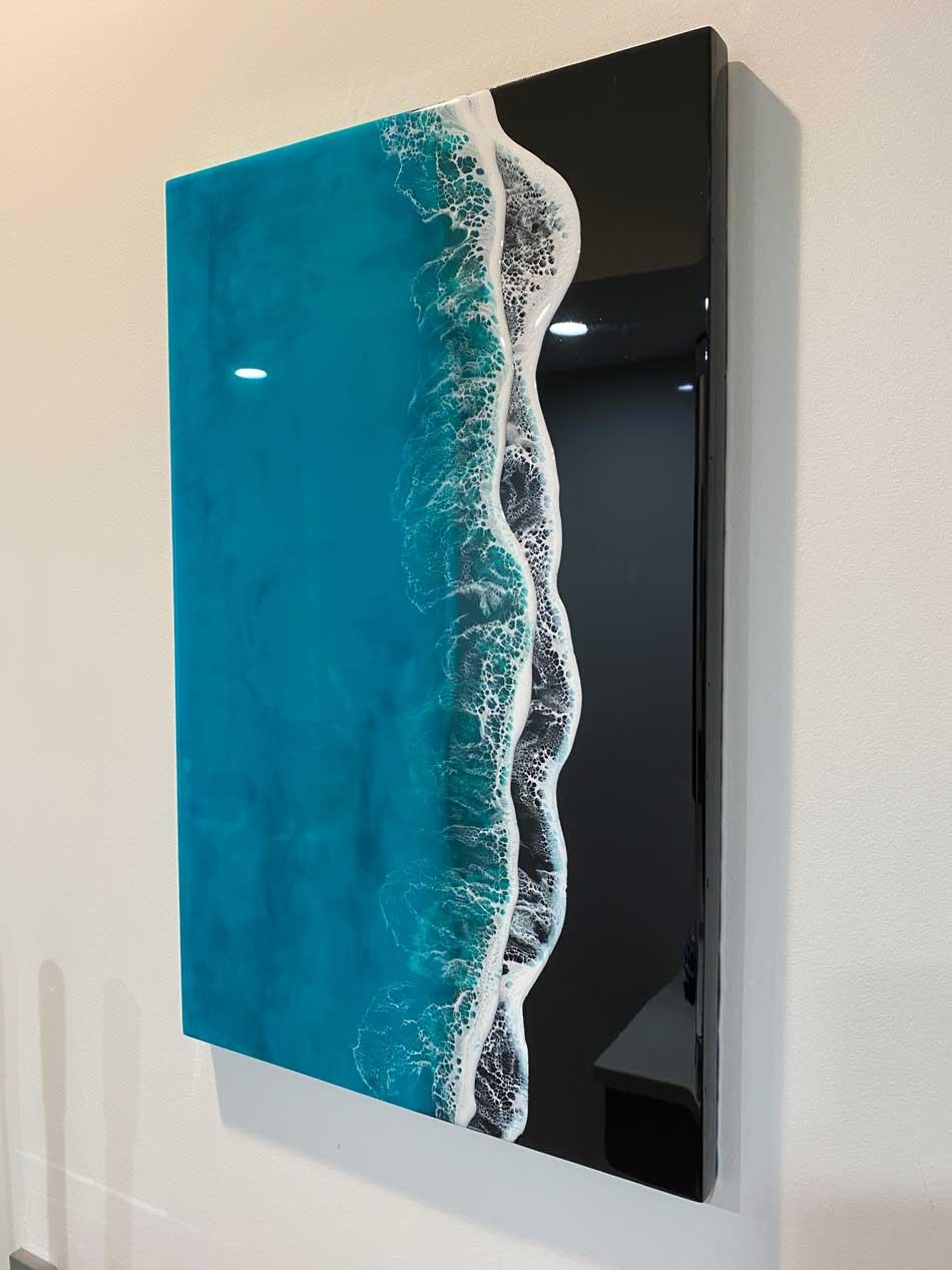 black sand resin art