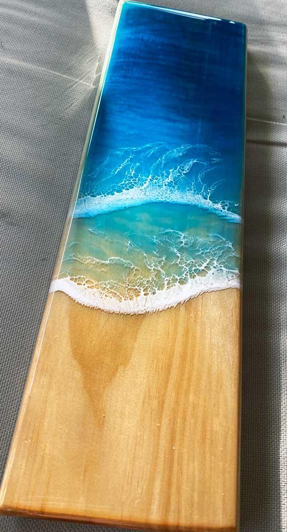 resin waves cribbage board1